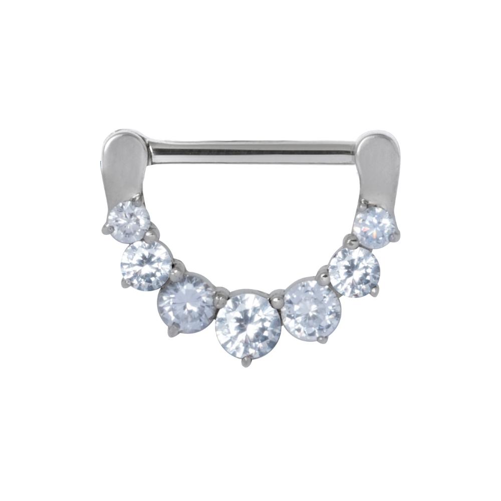Clicker (11) - 1,6 mm - 12 & 14 mm - stål - vita kristaller