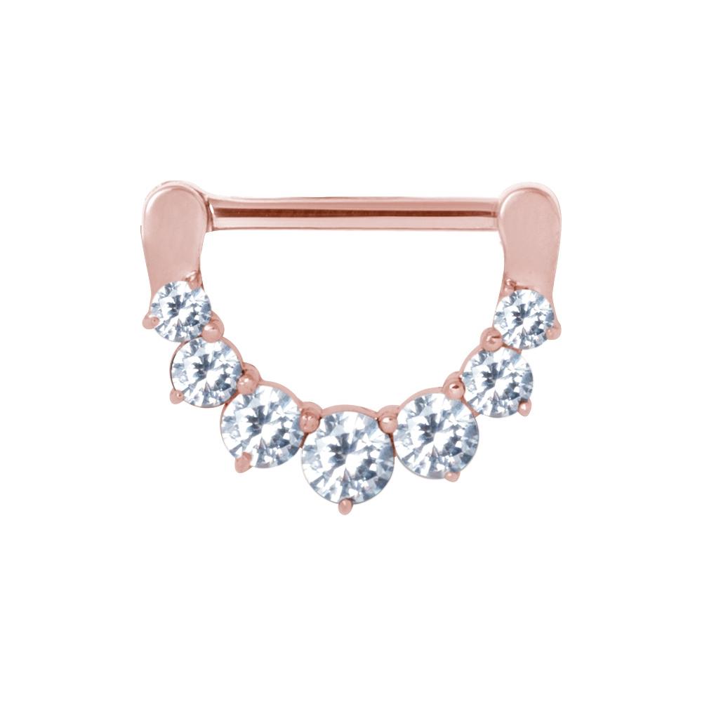 Clicker (11) - 1,6 mm - 12 & 14 mm - - roséguld - vita kristaller