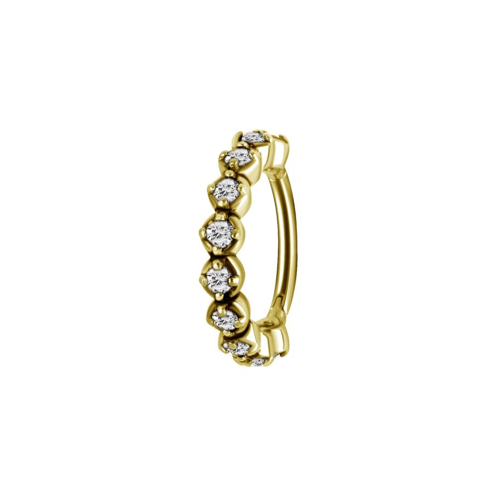 Clicker - 1,2 mm - rundad med diamantfattade kristaller - guld