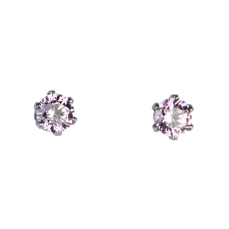 Stålörhängen - kirurgiskt stål med rosa kristall - 3 mm