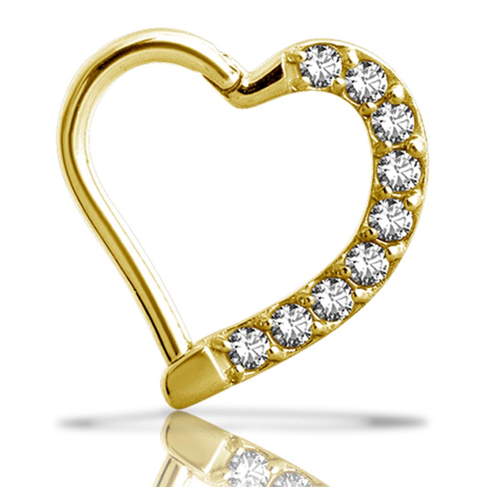 Clicker - vänster - hjärtform -24k guld PVD - vita kristaller
