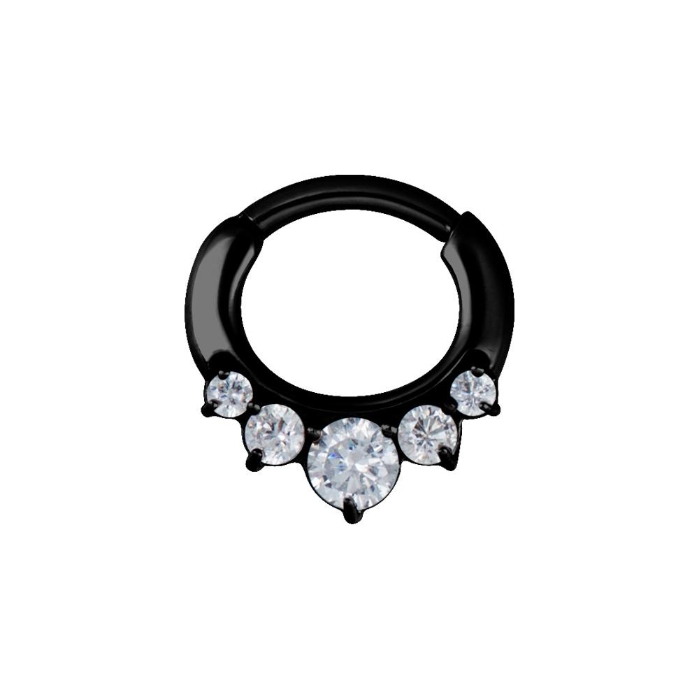 Clicker curved- 1,6 mm - svart med vit kristall