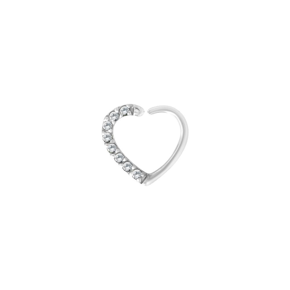 Piercingsmycke - 1,2 mm - höger - hjärtform - stål - vita kristaller