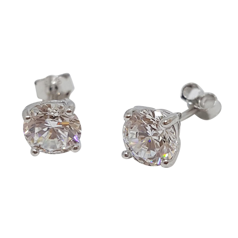 Kristallörhänge, 6 mm, vit kristall - äkta silver