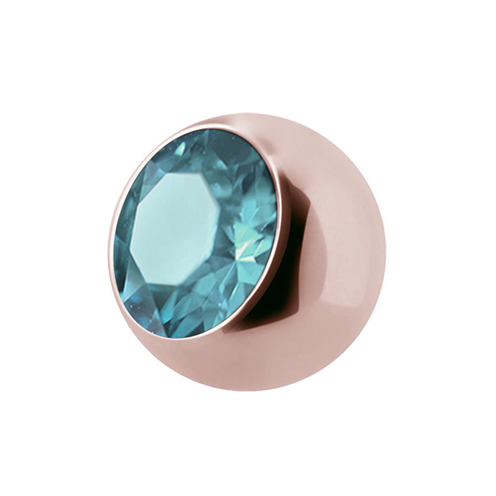 Jewelled balls - 1,6 mm - Roséguld - Ljusblå kristall