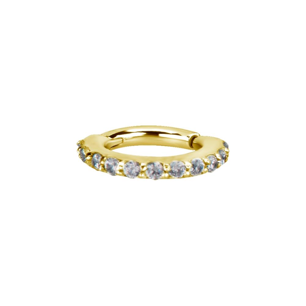 Clicker - small- 1,2 - öppningsbar - guld - vita kristaller