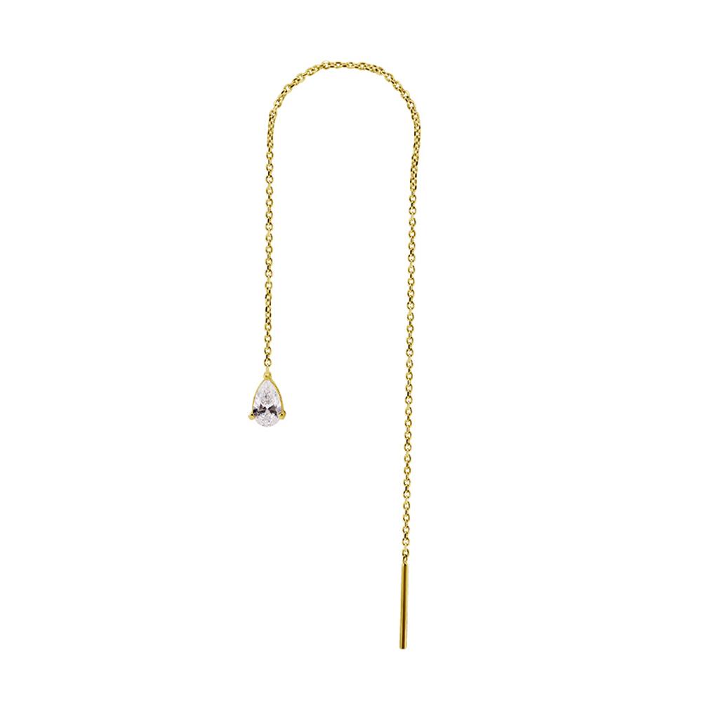 Örhänge i kedja med swarovskikristall i 18K guld