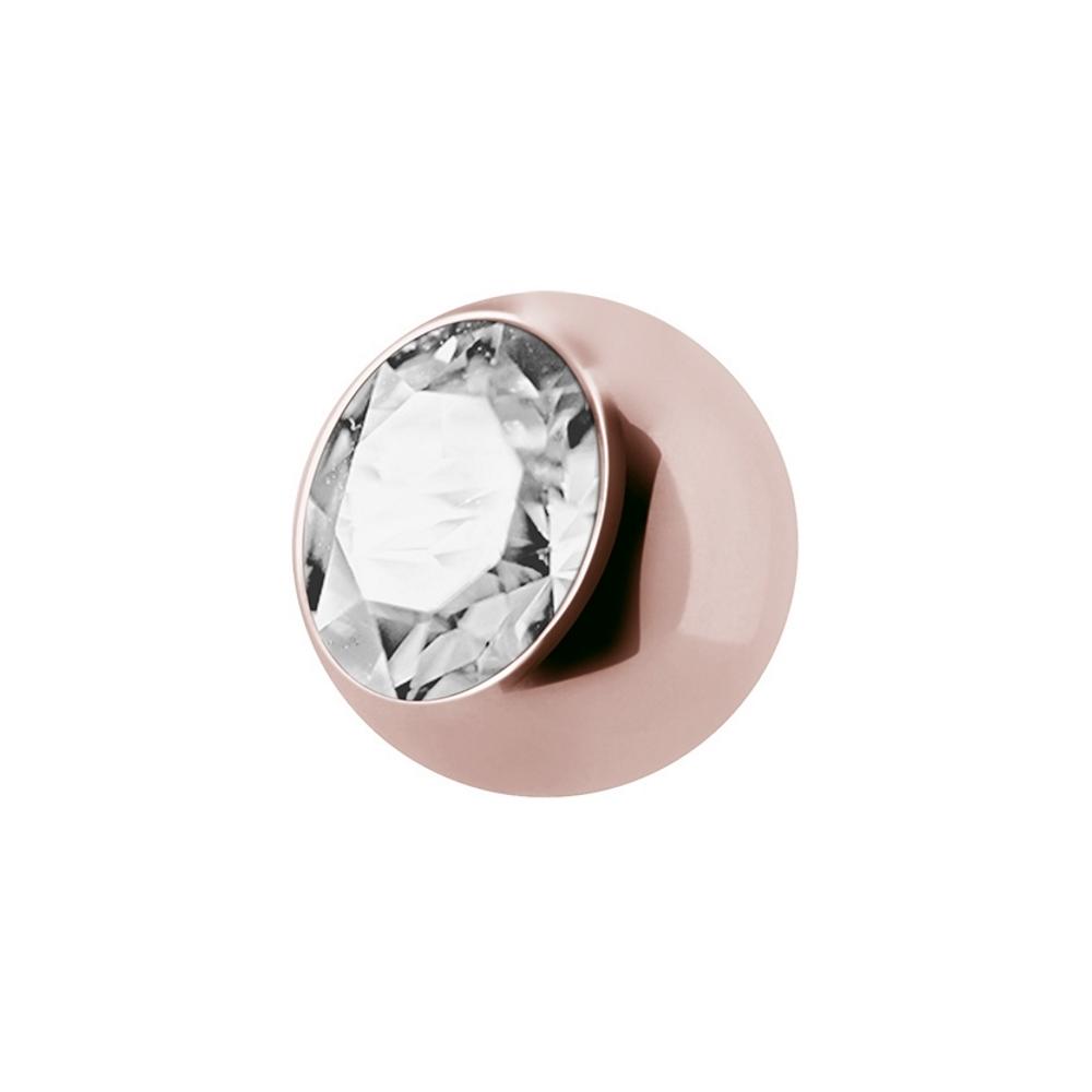 Jewelled balls - 1,6 mm - Roséguld - Vit kristall