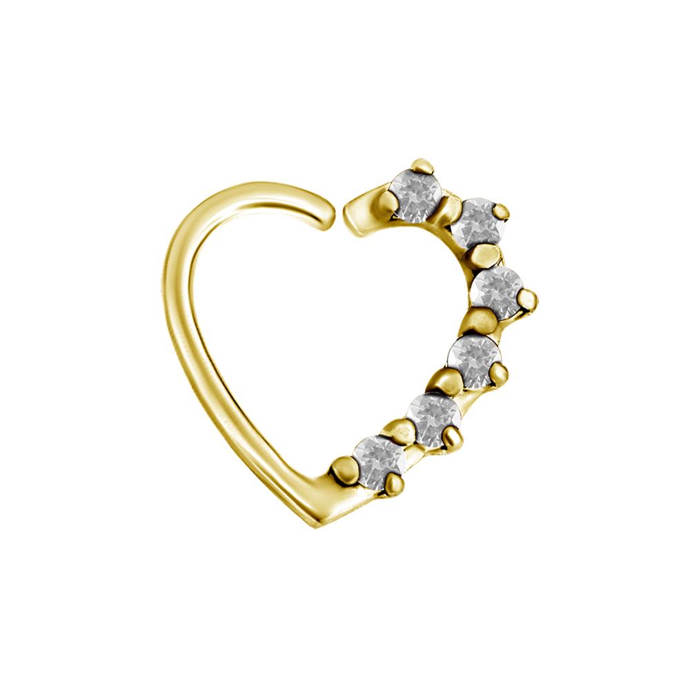 Piercingsmycke öra - 1,2 mm - vänster - hjärtform - guld - vita kristaller