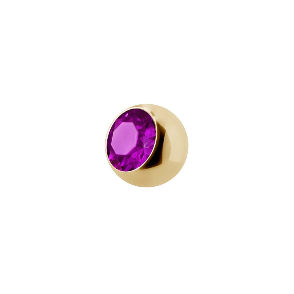 Liten extra kristall - 1,2 mm Guld - Cerise kristall