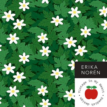White Anemone Green - Jerseyfabric