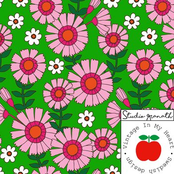 Sigrid Green/Pink - Woven Cotton Fabric