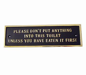 Toalettskylt, Mässing, Please... (24 x 7 cm)