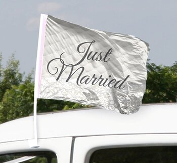 Bryllupsflagg bil- Just Married, 2 stk