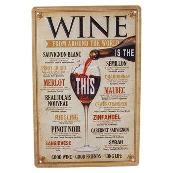 Plåtskylt WINE - Druvsorter Vin