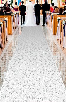 White Carpet with Silver Hearts