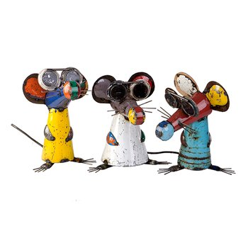 Three Blind Mice – Metal Animal Sculptures – Recycled & Handmade