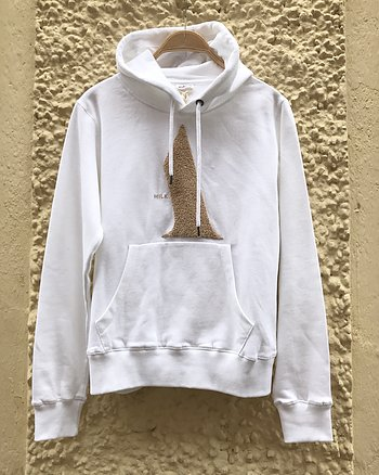 Hoodie Petite White and Beige from Milk Atelier