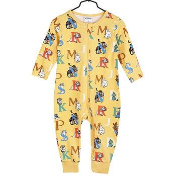 Gul pyjamas med bokstäver - Mumin