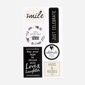Greeting stickers black 12-pack