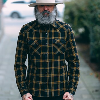 Iron Heart - IHSH-261-BLK Ultra Heavy Flannel Windowpane Check Western Shirt - Black