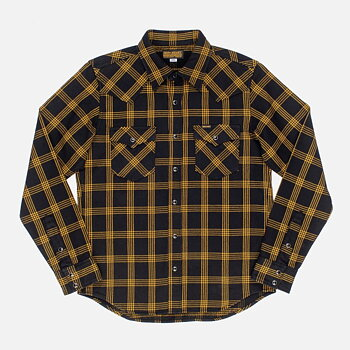 Iron Heart - IHSH-261-BLK Ultra Heavy Flannel Windowpane Check Western Shirt - Black