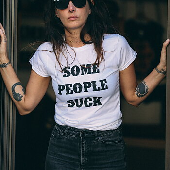 Some People Suck - White Ladies Tee