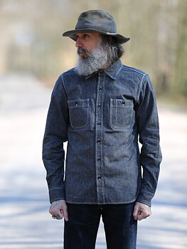 Iron Heart - 10oz Mock Twist Selvedge Chambray Work Shirt - Black