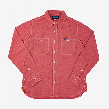 Iron Heart - 10oz Mock Twist Selvedge Chambray Work Shirt - Red