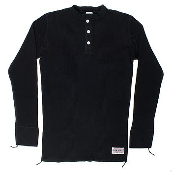 Iron Heart - Waffle Knit Thermal Henley - Black