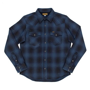 Iron Heart - IHSH-264-NBK Ombre Check Flannel Western Shirt - Blue/Black