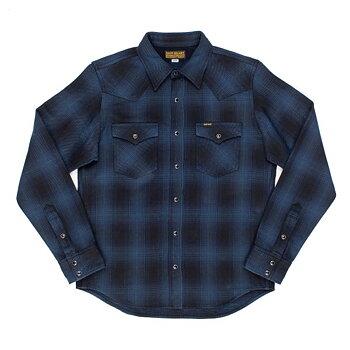 Iron Heart - IHSH-264-NBK Ombre Check Flannel Western Shirt - Blue/Black