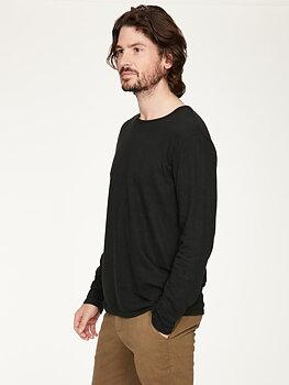 Svart långärmad T-shirt i hampa och bomull