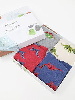Presenttips! Barnstrumpor i bambu - dinosauriemönster