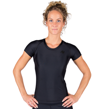 Carlin Compression Short Sleeve Top, black/black
