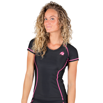 Carlin Compression Short Sleeve Top, black/pink