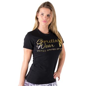Luka T-shirt, black/gold