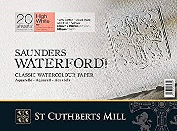 Akvarellpapper Saunders Waterford ark High White 56x76 Fin 638gr 10-pack