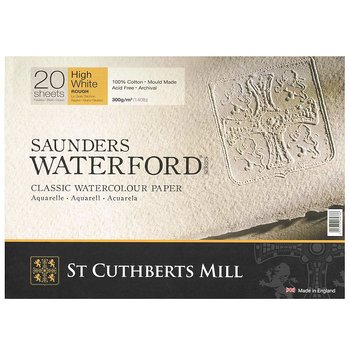Akvarellpapper Saunders Waterford ark High White 56x76 Grov 638gr 10-pack