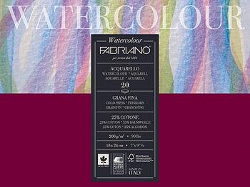 Fabriano Akvarellblock 200gr Fin Gräng 30x40cm 20ark