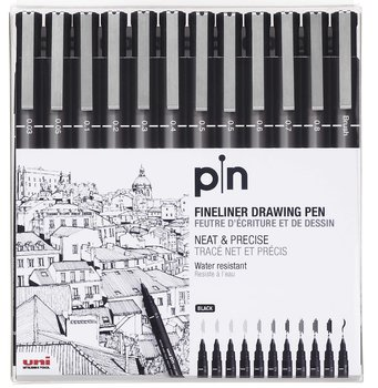 Fineliner Uni-Pin Svart 12-set