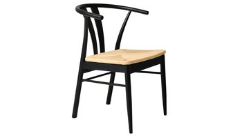 Matstol i svart lackerad ek