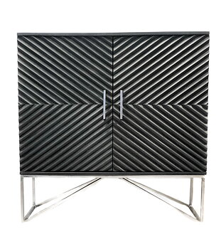 THG Wooden raised Chevron 2 Door Cabinet