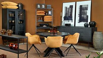 Matbord Seven i svart askfaner, Ø120