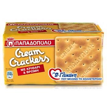 CREAM CRACKERS med korn och havre 185g, Papadopoulou gul