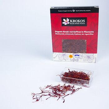 Ekologisk grekisk röd saffran i hela pistiller , 1g - Krokos Kozanis P.D.O.