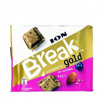break choklad gold 85g ION vit med blåbär och mandel