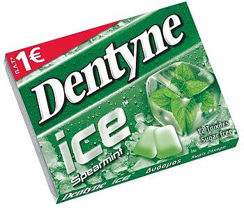 dentyne ,tuggummi sugar free, spearmint  flavour, 12bitar