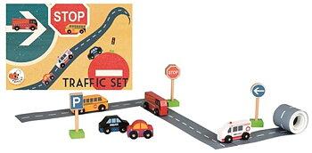 Trafik vägtejp med tillhörande bilar