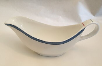 Sauce bowl 1950s white blue